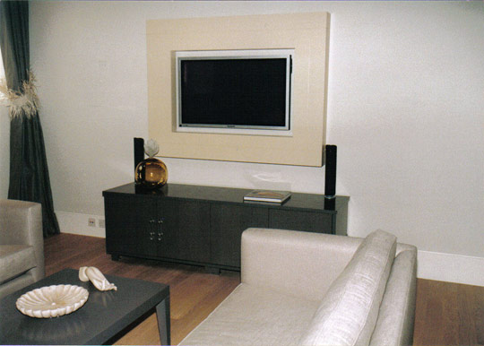 A/V unit in Grey Oak to house Audio Visio equipment with high gloss painted Plasma TV frame